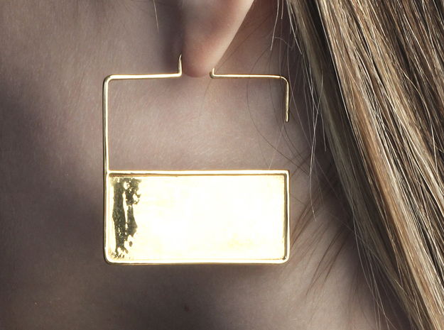 FLAT Nº 3 EARRINGS in 14k Gold Plated Brass