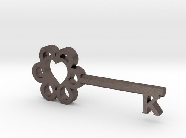 Keys to Kindness Key Pendant in Polished Bronzed Silver Steel