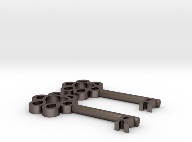 Keys to Kindness Key Earrings in Polished Bronzed Silver Steel