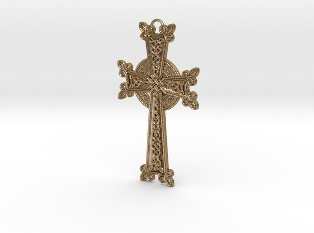 Celtic-Cross-Necklace in Polished Gold Steel