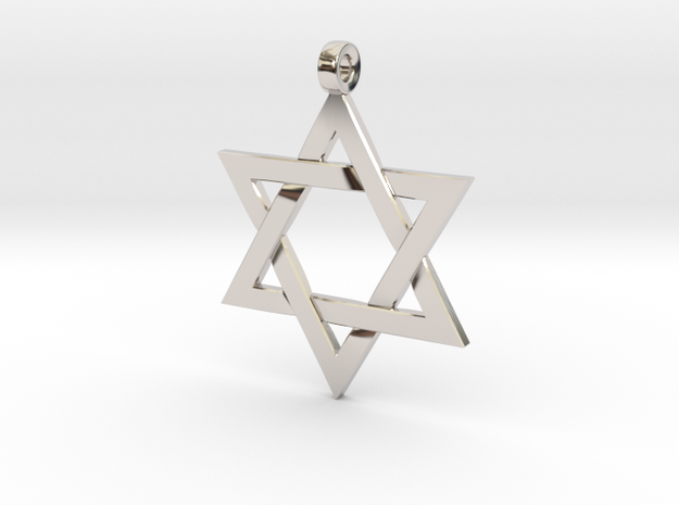 Star Of David v2 in Rhodium Plated: Small