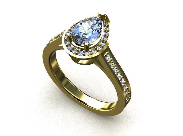 CCW19 Pear Halo One Ring in Smooth Fine Detail Plastic