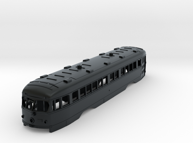 HO Illinois Terminal Double-End PCC Trolley Body in Black Hi-Def Acrylate