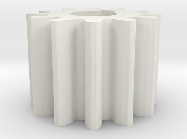 Cylindrical gear M1 Z12 Alfa20 Beta0 b10 HoleØ5 K2 in White Natural Versatile Plastic