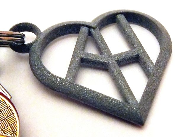 Heart of love keychain [customizable] 3d printed The keychain printed in polished metallic plastic (customizable initials, key ring not included) [printed in polished alumide]