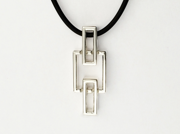 Pendant - Interlocking rectangles in Polished Silver (Interlocking Parts)