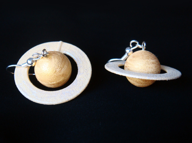 Saturn Planet Earrings for Astronomers and Astroph 3d printed