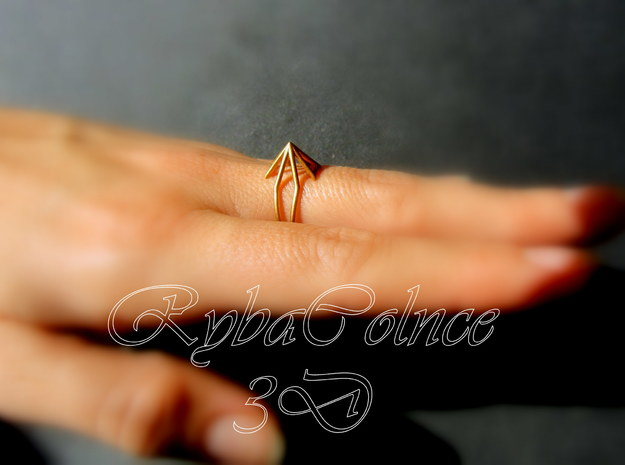Ring  The Pyramid 7 US ( 17.35 mm) in Polished Gold Steel