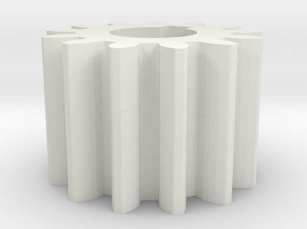 Cylindrical gear Mn=1 Z=13 AP20° Beta0° b=10 HoleØ in White Natural Versatile Plastic