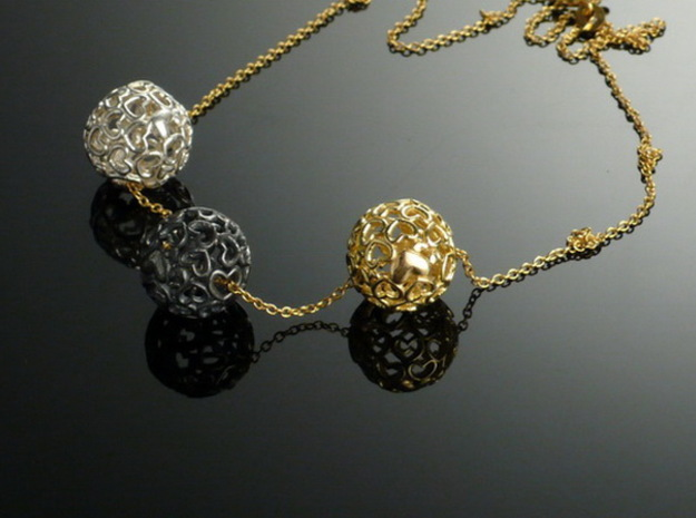 Heartball 20 mm 3d printed this balls I have made the traditional way in gold and silver.
