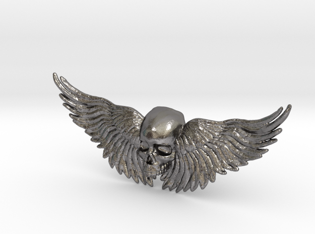 Metal Skull ring with wings in Polished Nickel Steel