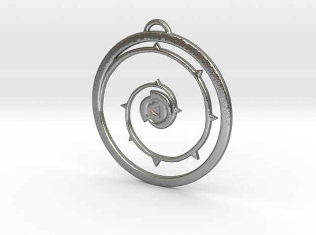 Steven Universe Shield Pendant version 4 in Natural Silver
