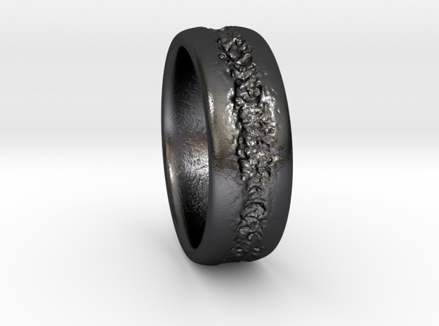 Scar Ring in Polished and Bronzed Black Steel