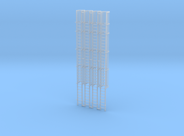 'HO Scale' - (4) 30' Caged Ladder - Cage to Top