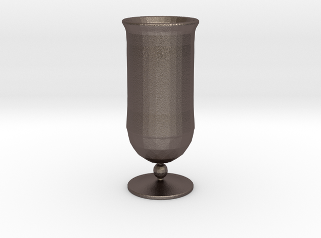 Goblet-style Vase in Polished Bronzed Silver Steel