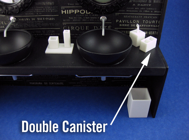 Bath Double Canister 1:12 scale in White Processed Versatile Plastic