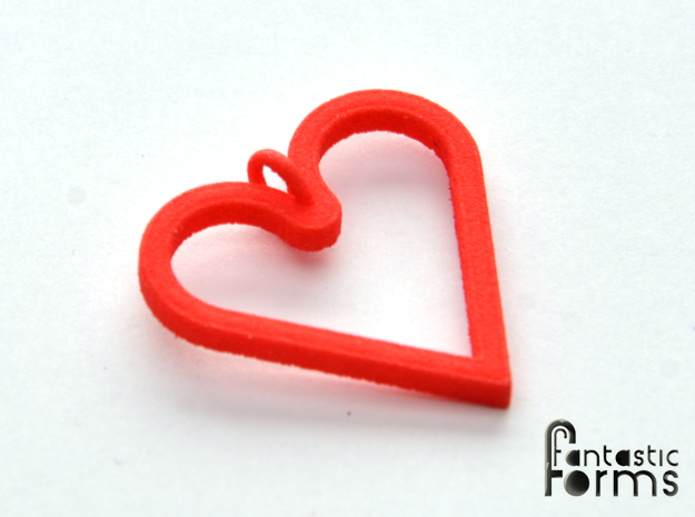 Pendant 'Heart' in Red Processed Versatile Plastic