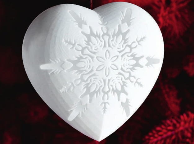 Large Snowflake Heart by Helen & Colin David in White Natural Versatile Plastic