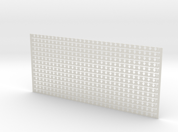 Arch. Fascia (Barge) Boards - Clover Leaf Pattern in White Natural Versatile Plastic: 1:24