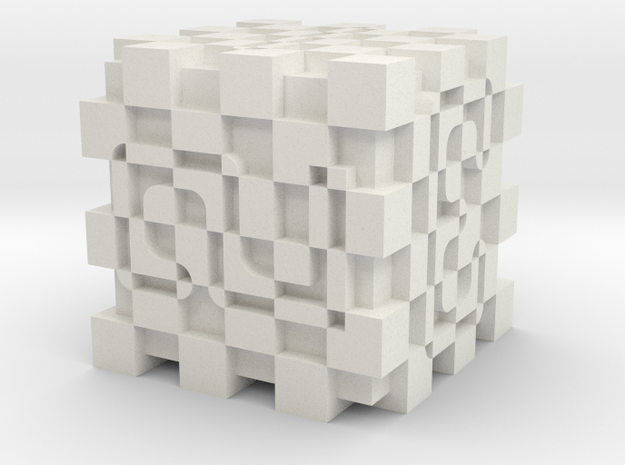 Optical Art D6 Dice (numbers) in White Natural Versatile Plastic
