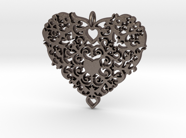 Floral Heart Pendant - Amour in Polished Bronzed Silver Steel