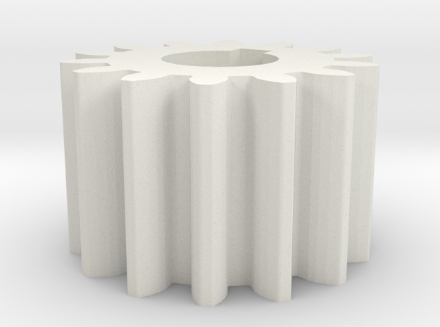 Cylindrical gear Mn=1 Z=14 AP20° Beta0° b=10 HoleØ in White Natural Versatile Plastic