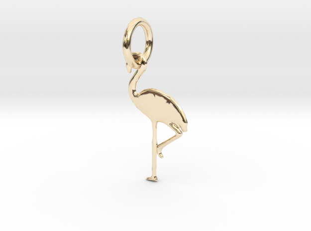 Flamingo Bird Pendant in 14k Gold Plated Brass