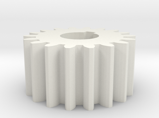 Cylindrical gear Mn=1 Z=18 AP20° Beta0° b=10 HoleØ in White Natural Versatile Plastic