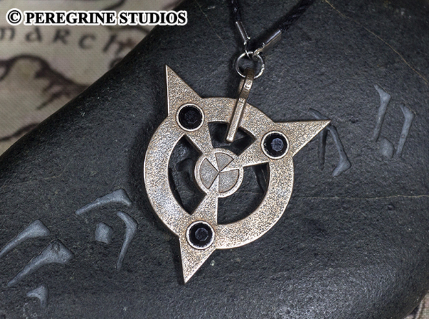Pendant - Amulet of Articulation in Polished Bronzed Silver Steel
