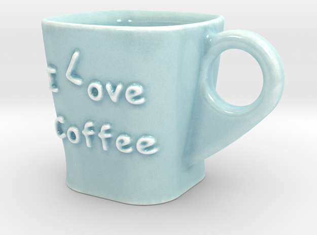 Coffee Cup - I Love Coffee in Gloss Celadon Green Porcelain