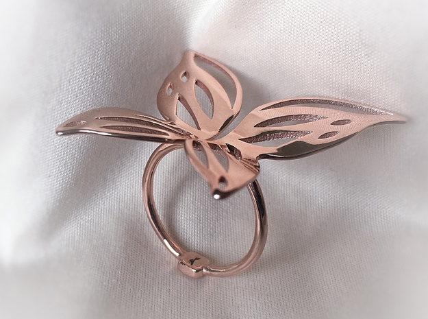 Butterfly Ring in 14k Rose Gold Plated: Extra Small