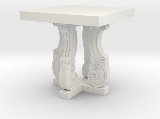 Decorative French Side Table in White Natural Versatile Plastic: 1:48