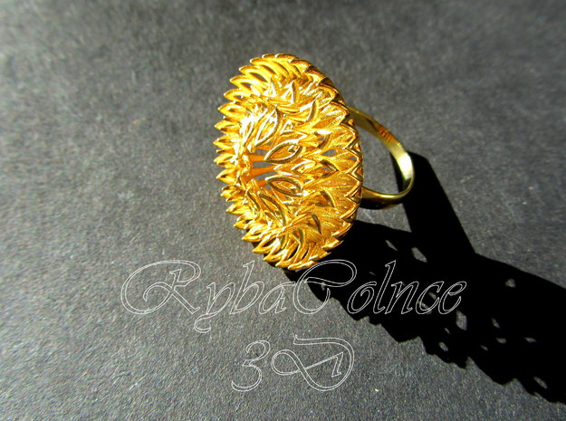 Ring Sun Flowers /size 9 1/2 US (19.4 mm) in 14k Gold Plated Brass