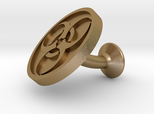 SINGLE Cufflink for BIO - Biological Hazard in Polished Gold Steel