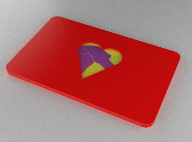 Gift Card Holder Heart Cutout in Red Processed Versatile Plastic