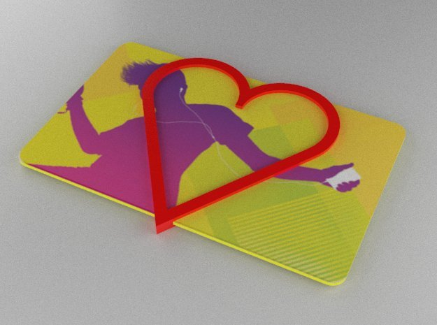 Gift Card Holder Heart in Red Processed Versatile Plastic
