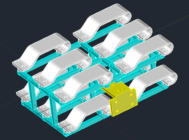 Track Skid 3d printed Skids (white) with pegs, template (yellow), and sprue (blue)