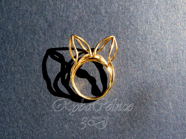 The Ears Ring / size 9 US (18.9 mm) in Polished Bronze