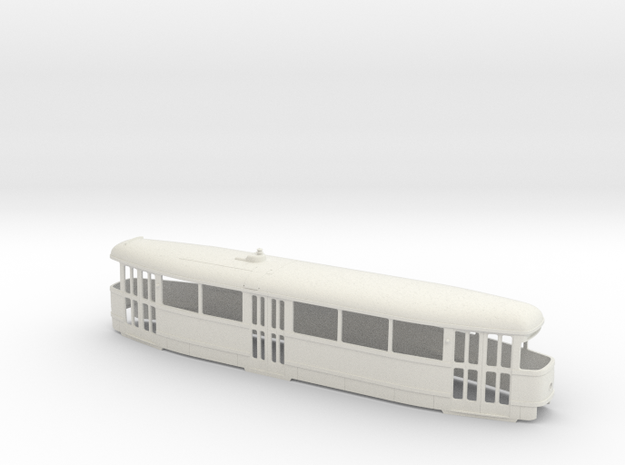 Tatra T1 Trolley 0 scale [body] in White Natural Versatile Plastic: 1:48