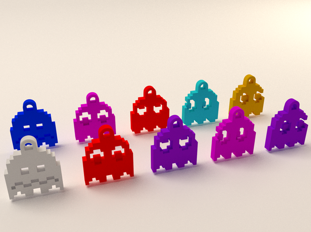 Pac Man Ghost 8-bit Earring 2 (looks right) 3d printed