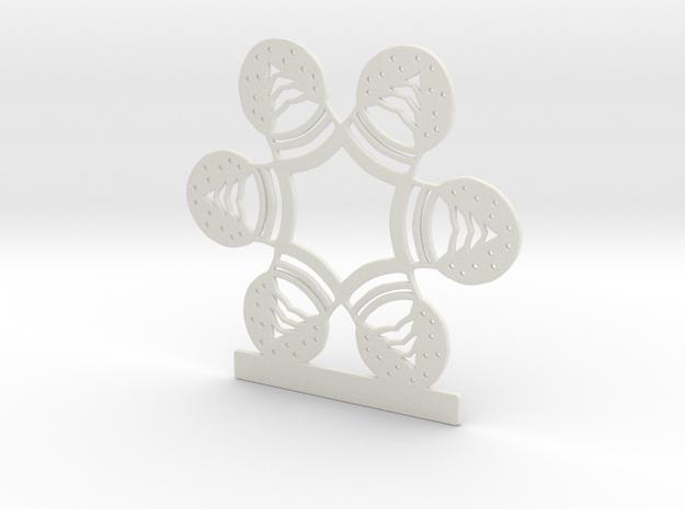 Customizable Snow Globe Snowflake Ornament in White Natural Versatile Plastic