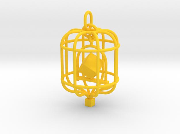 Platonic Birds - Cube in Yellow Processed Versatile Plastic
