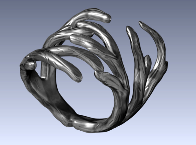 Antler Ring Size 7.5 in Polished Silver