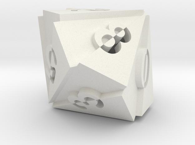 Optical Art D10 Dice in White Natural Versatile Plastic
