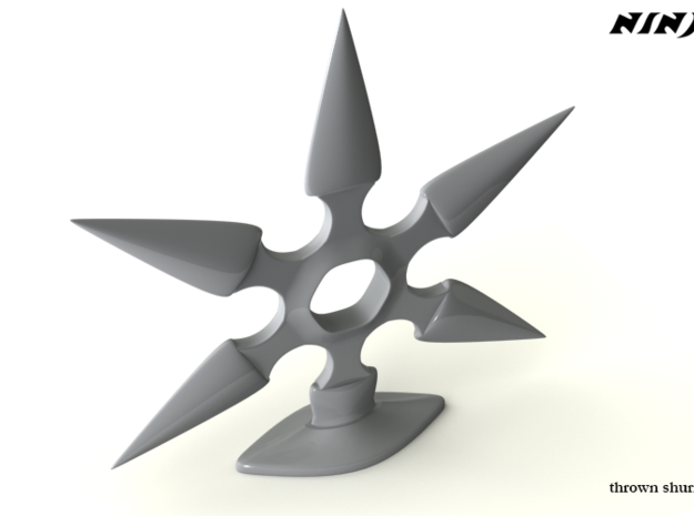 Thrown Shuriken in White Natural Versatile Plastic