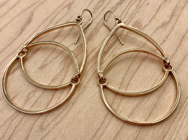 BlakOpal Open Teardrop Earring in Interlocking Polished Bronze