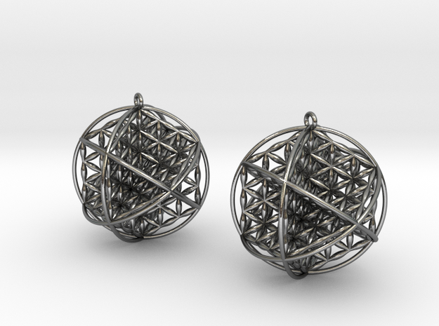 "Ball Of Life Earrings 1.5"" in Polished Silver"