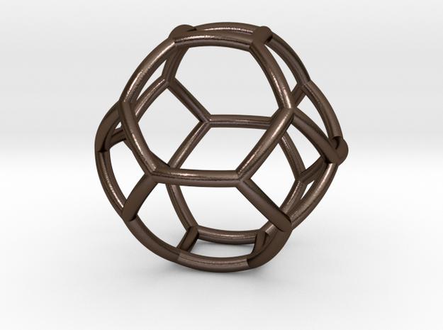 0410 Spherical Truncated Octahedron #002 in Polished Bronze Steel