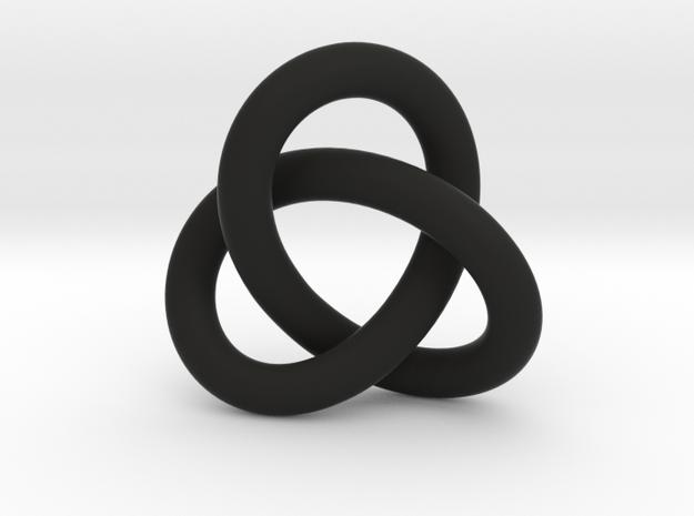 Robust Large Trefoil Knot Pendant in Black Natural Versatile Plastic