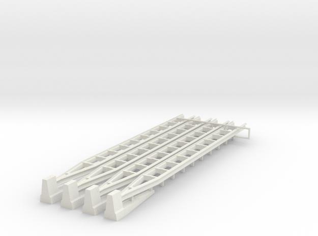 [4st] Overgang Barrier Naar Geleiderail 1:87 (H0) in White Strong & Flexible